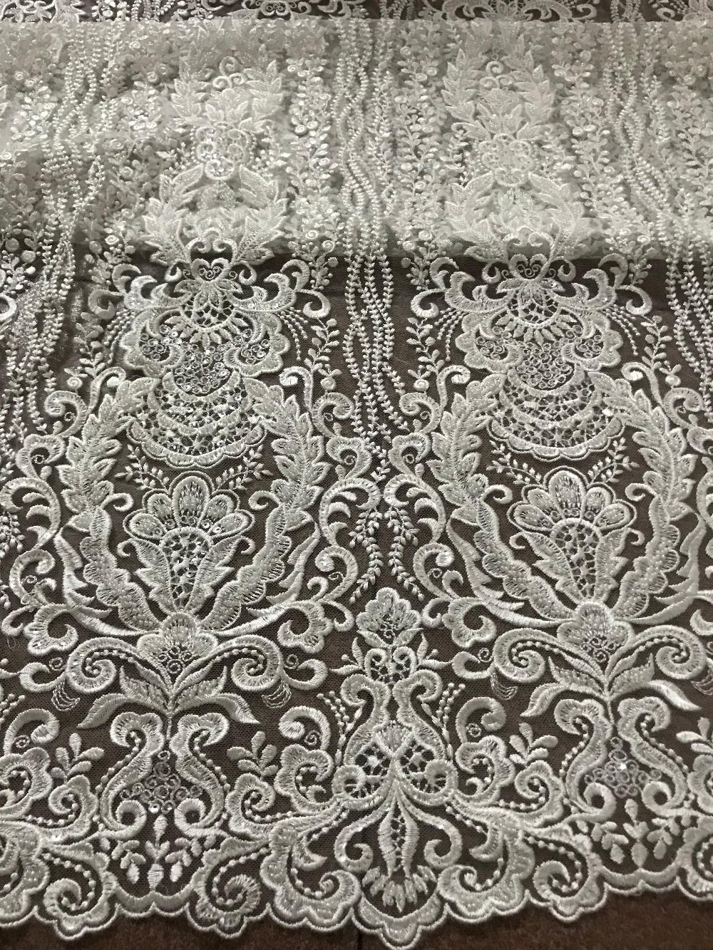 top Quality heavy beaded embroidered Tulle Lace sat-52027  nice looking french net lace Fabric for party dress