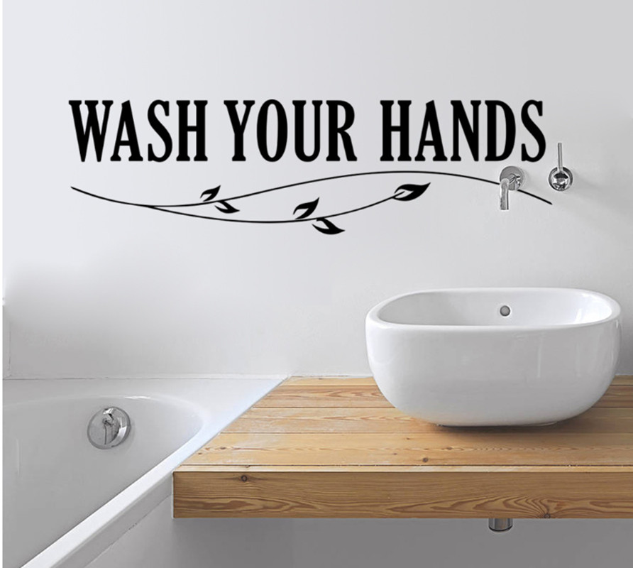 urijk wash your hands sign love quote wall sticker home decor stickers vinyl art decal removable poster bathroom wall decals