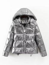 Women winter jackets Short warm coat Silver metal color bread style 2016 ladies parka winterjas dames abrigos mujer invierno