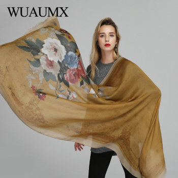 Wuaumx Autumn Winter Scarf Women Floral Print Hijab Scarf Thin Scarves Female Bandana Soft Retro Pashmina Ladies Shawl And Wrap stylish flags and newspaper print soft bandana scarf for women