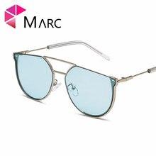 MARC New metal Sunglasses ins woman ocean Small Metal Yellow Gradient Trendy UV400 female Eyewear Mirror Brown