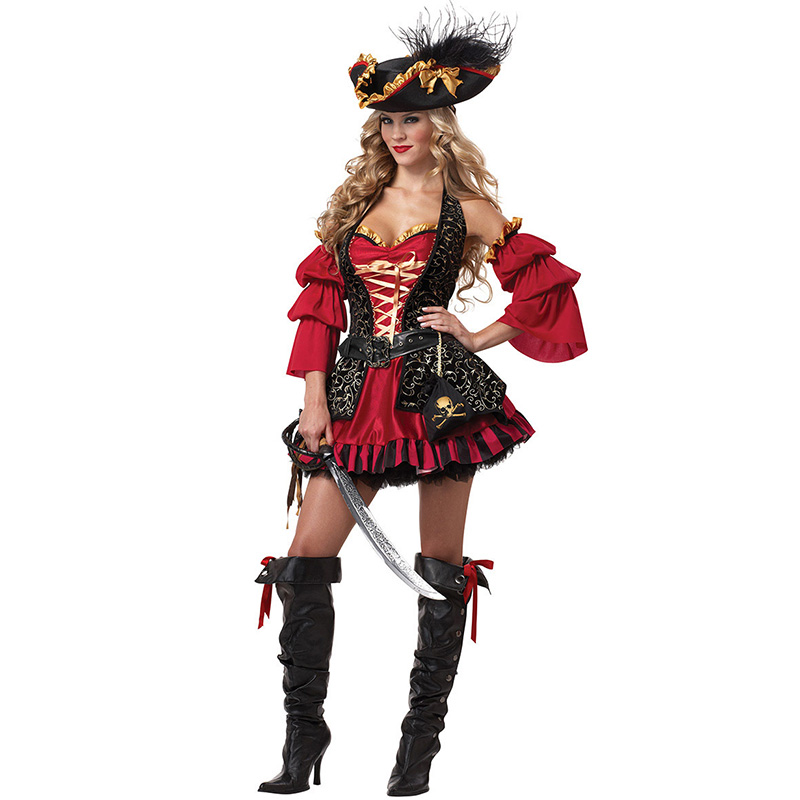 VASHEJIANG Women Sexy Pirate Costume Halloween Fancy Party Dress Red Adult Sexy Matador Pirate Captain Cosplay With Hat