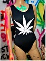 Weed Leaf Swimsuit Women Sexy Swimwear Fashion Clothing Jumpsuits Rompers Bathing Suit ONE PIECE BODYSUIT BEACHWEAR
