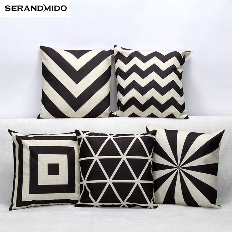 modern geometric grid pillowcase cotton linen cushion cover printed size home decorative cojines office sofa throw pillows