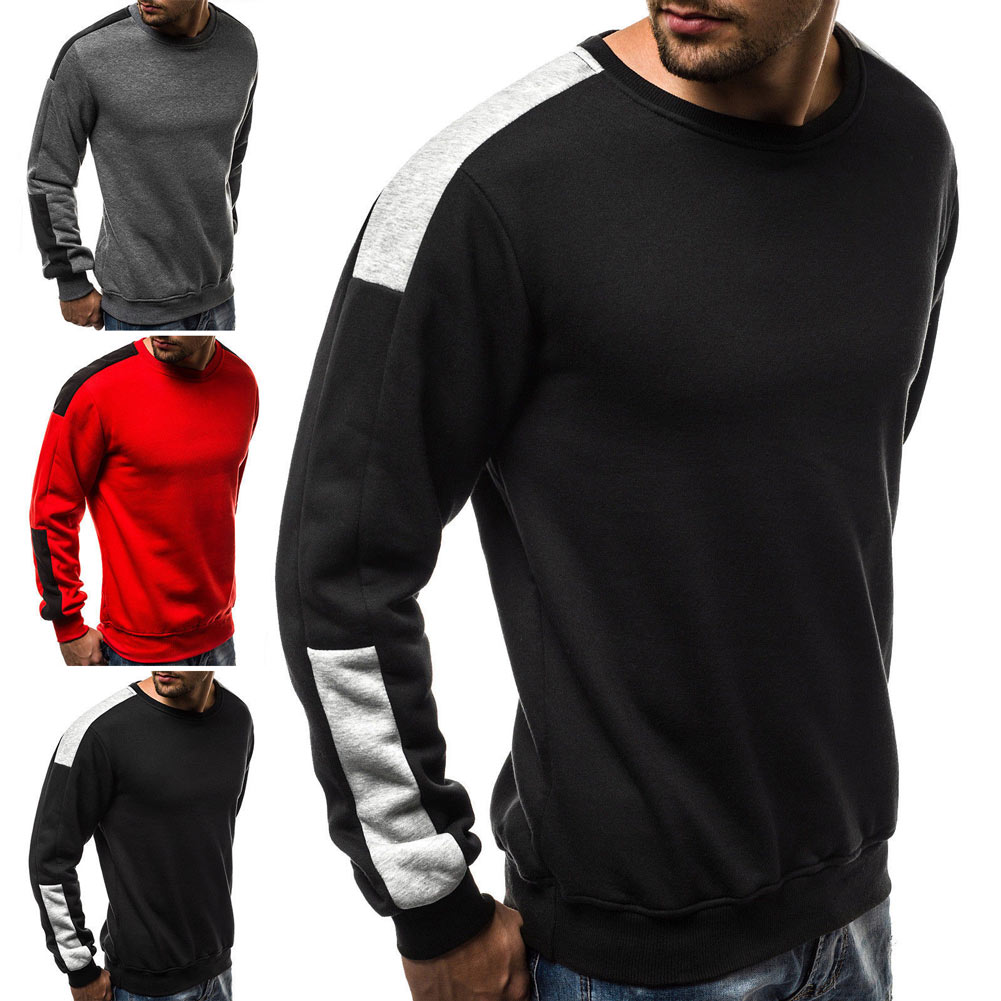 Man Autumn Casual Sweatshirt Pullover Colorblock Long Sleeve Tops -MX8