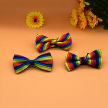Male and Female Rainbow Striped Print Bow Tie Casual Dress Bow Tie striped bow tie split back top