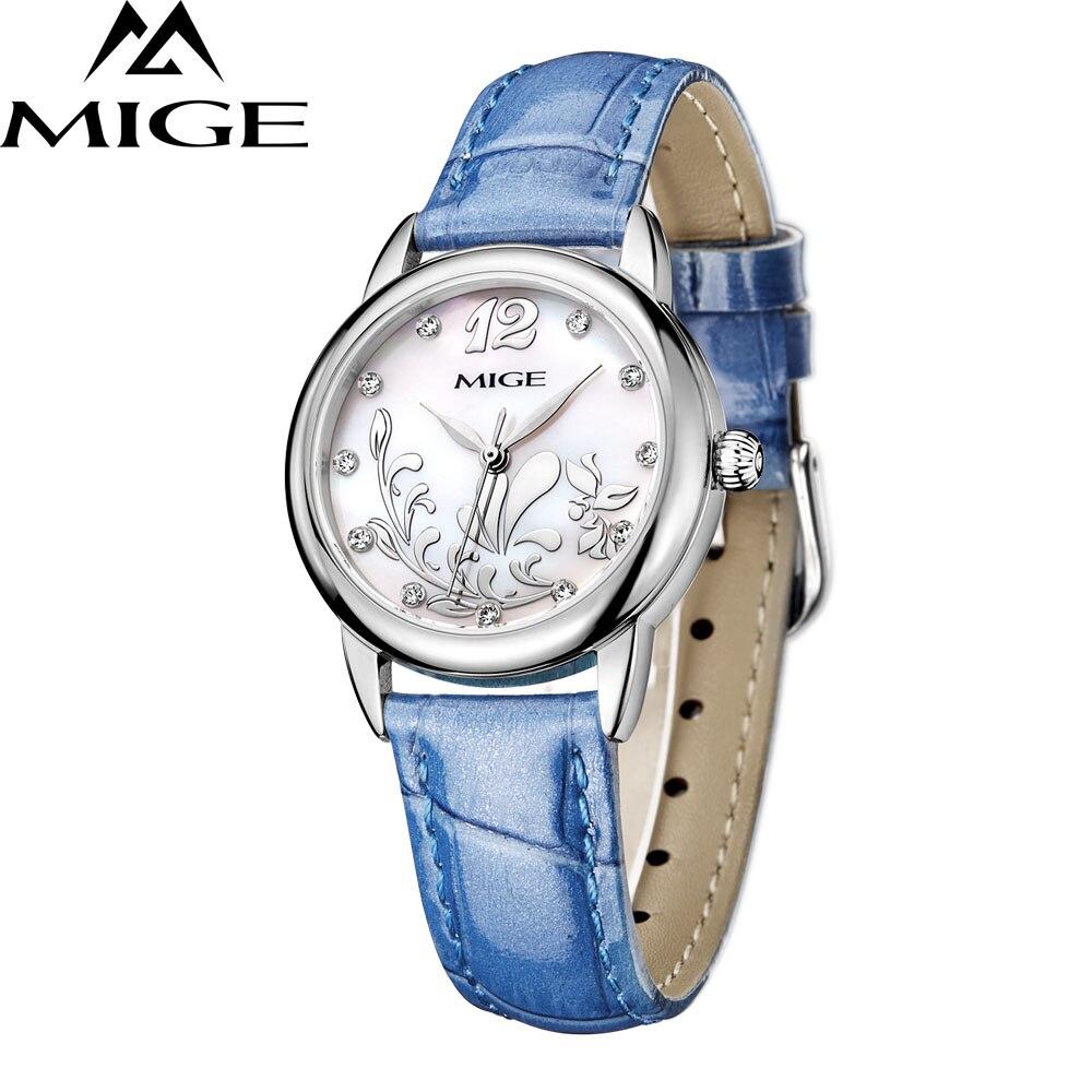 MIGE New Arrival Women Watches Luxury Quartz Wristwatch Rhinestones White Blue Pink Genuine Leather Strap Relogio