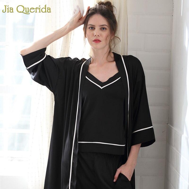 2019 女性ピンクガウンローブセットエレガントな浴衣セット 3 個ローブパジャマ女性のためのサテンシルクローブスーツセクシーなガウン女性  グループ上の 下着 & パジャマ からの ローブ の中 2