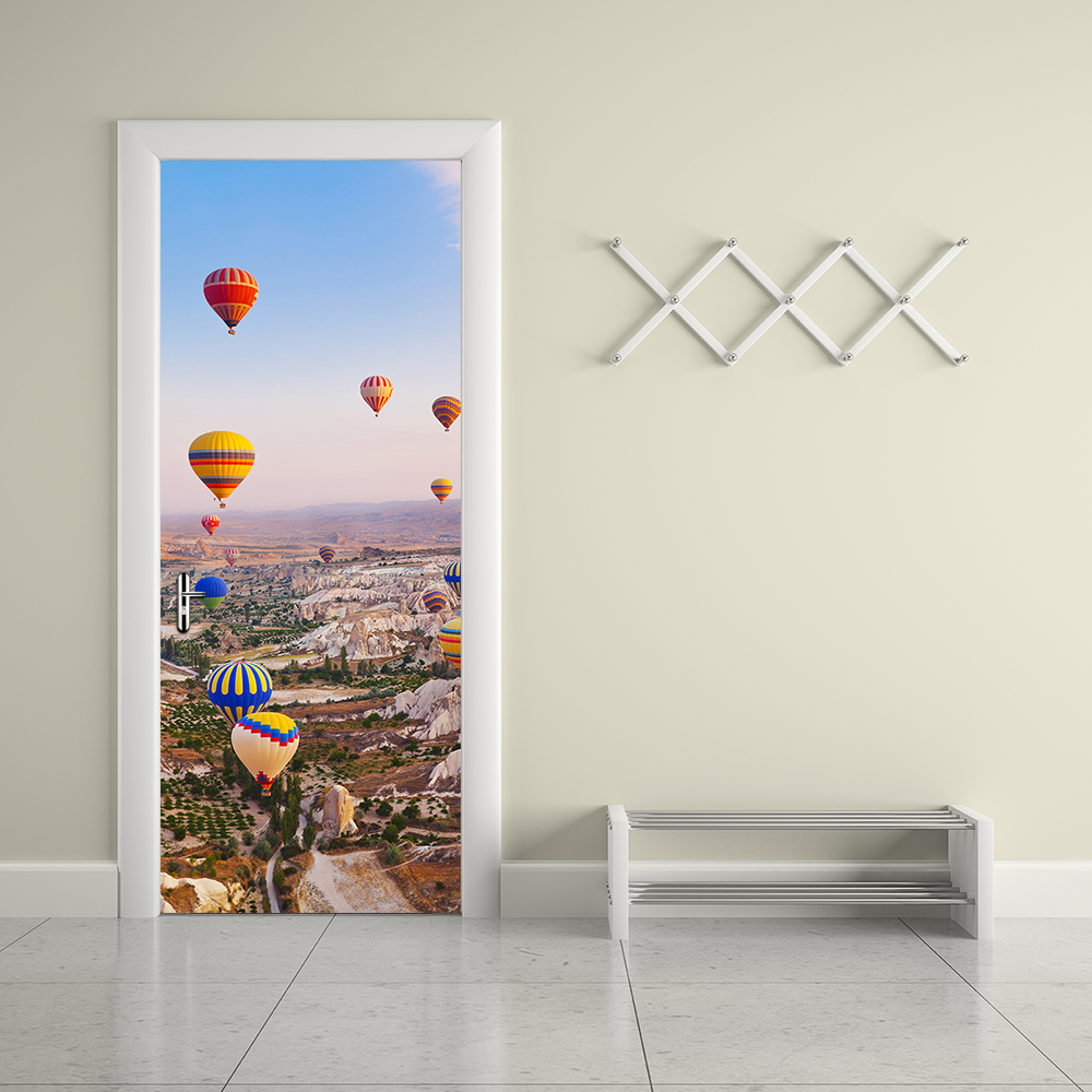 Creative Turkey Hot Air Balloon Door Wall Sticker Home Decor Art Decals Creative Vinyl Wallpaper Waterproof Door Murals in Wall Stickers from Home Garden