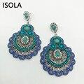 ISOLA Hollow Vintage Seed Bead Filled Water Drop Soutache Earring Resin Rhinestone Ethnic Style Charming Boho Earrings