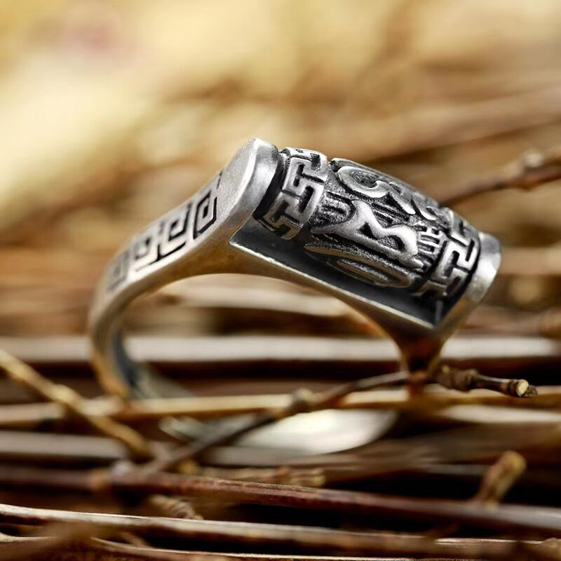 Image 3 - Handmade 925 Silver Tibetan Six Words Proverb Ring Turning Ring Good Luck Ring Resizable-in Rings from Jewelry & Accessories