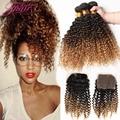Покрасить Малайзийские Виргинские Волосы С Закрытием 8А Малайзии Странный Вьющиеся Волосы С Закрытием 1B/4/27 # Ombre реми Волос Пучки С Закрытием
