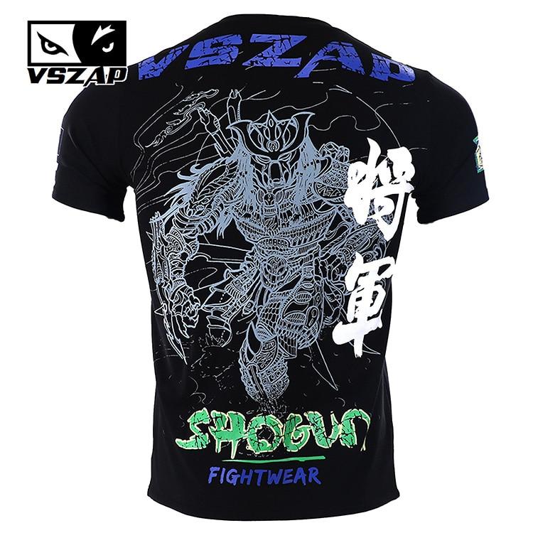 VSZAP Warrior Boxing MMA T Shirt Gym Tee Shirt Fighting Fighting Martial Arts Fitness Training Muay Thai T Shirt Men Homme