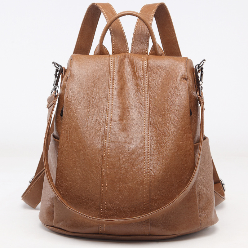 s338-1 New Fashion Real Women's bag double shoulder Bag Anti-theft Cowhide Leather Large Capacity Leisure Travel Backpack