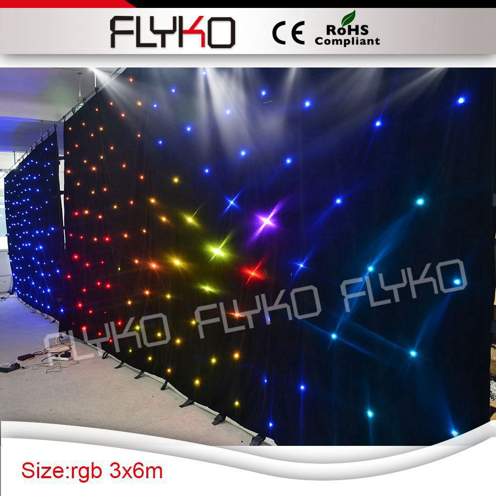 Led curtain concert - Rgb 3in1 Led Lights 3x6m Flexible Star Curtain Nightclub Concert Stage Backdrop With Sd Controller