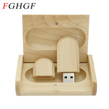 FGHGF  (over 10 PCS free LOGO) Creative Original Wooden usb + Box pen drive 8GB 16GB usb Flash Drive Memory Stick wedding Gift
