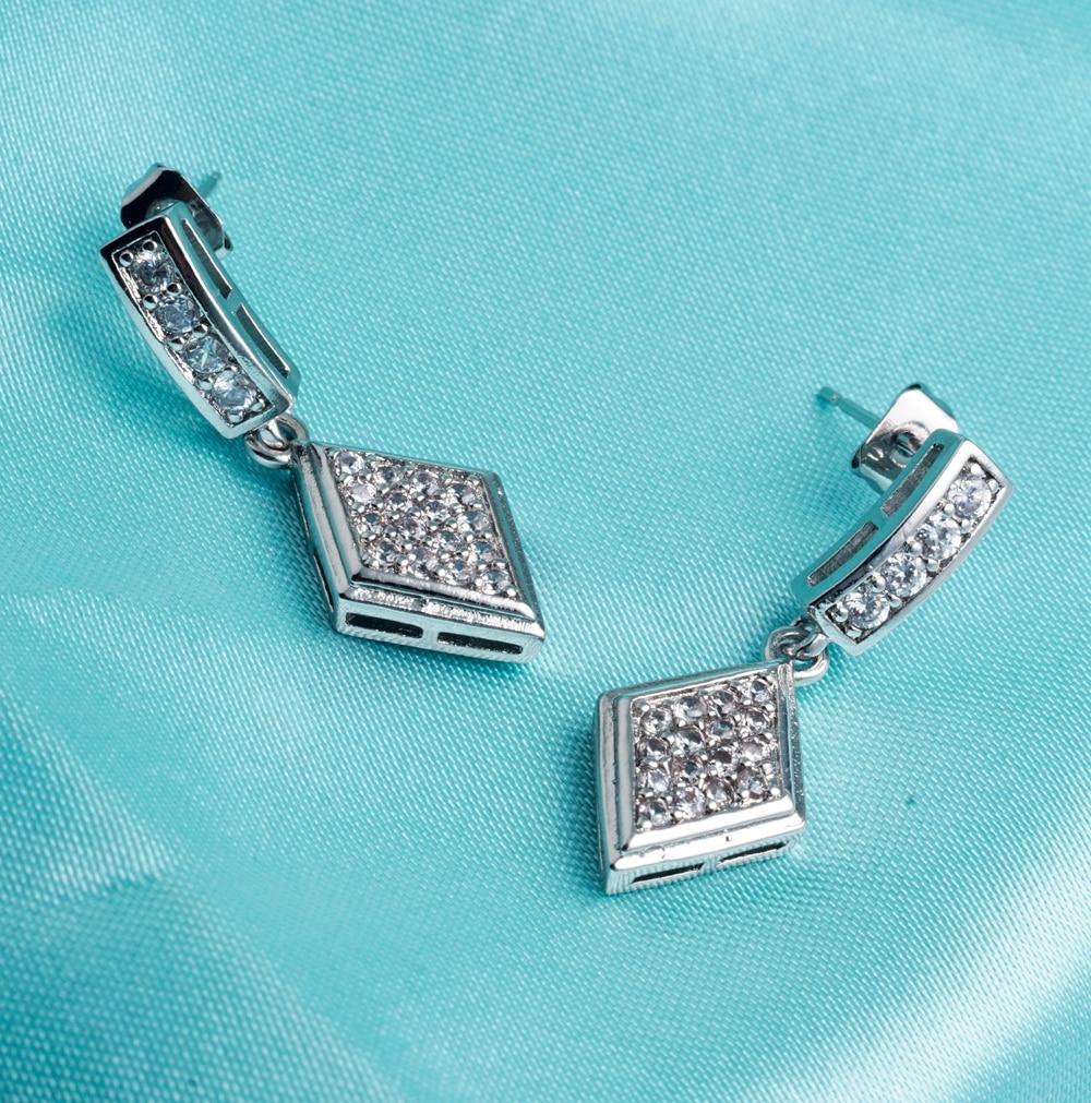 Yunkingdom geometric drop earrings white Cubic Zirconia white gold color Indian Bride earrings for women K1419