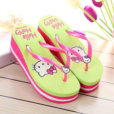 4b4cca878 wholesale women wedge heel platform sandals lively hello kitty high heel flip  flops summer neon color beach slippers size36-39