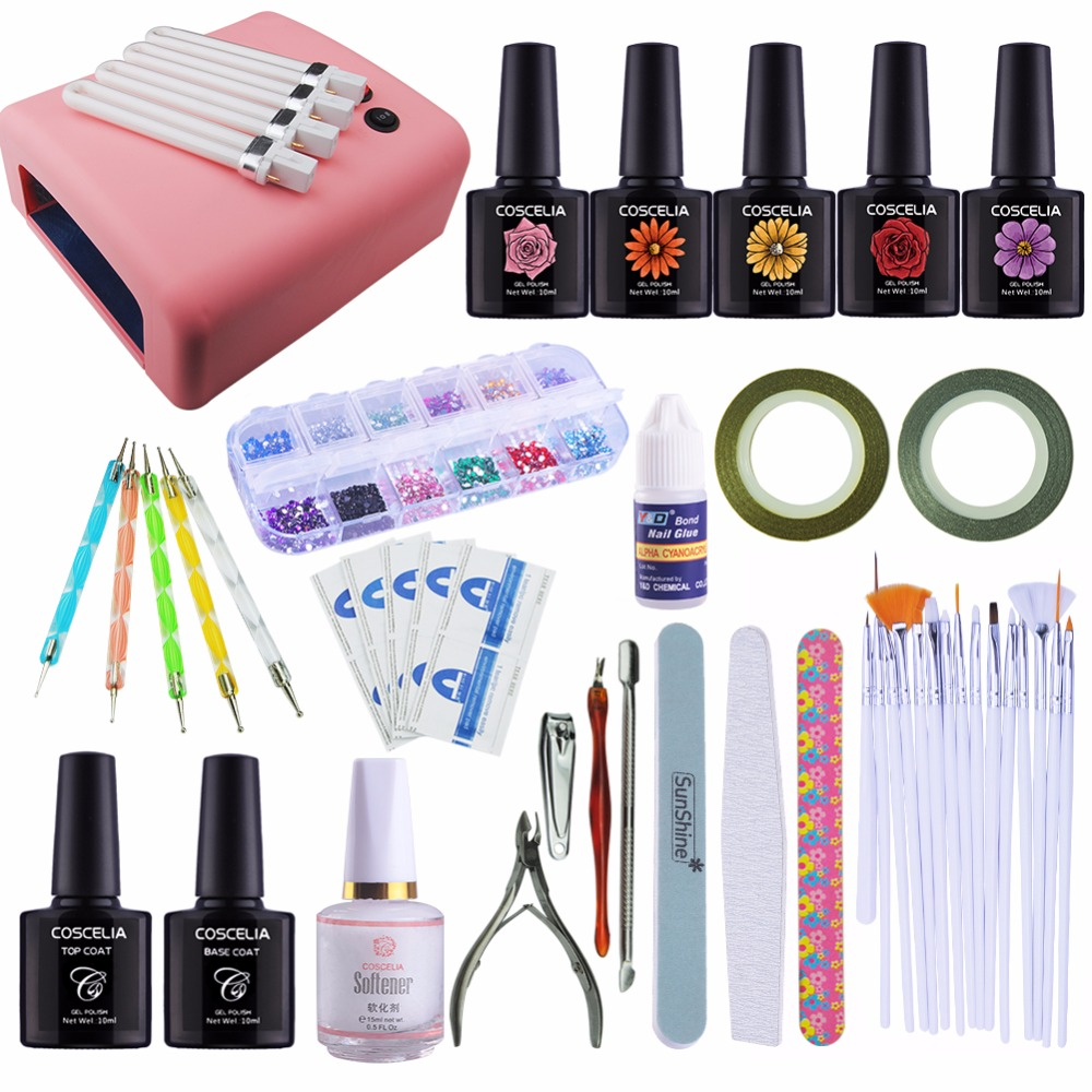 Nail Art Kits Manicure Set 36W UV Lamp Dryer Nail 5 Colors Soak-Off Gel Nail Polish Varnish Base Top Coat Polish Files Tools nail art tools manicure sets 18w uv lamp nail dryer 6 colors soak off gel nail polish top gel base coat nail kits