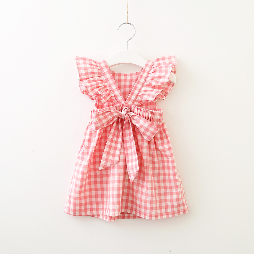 Girls' Plaid Dress Back V Collar with Bow Sash zip back stand collar plaid dress