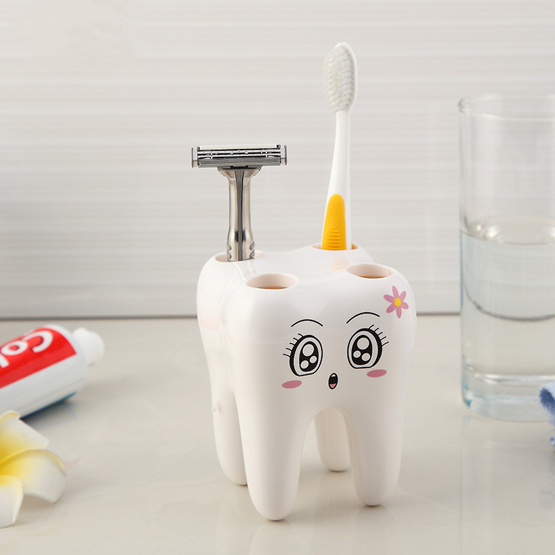Creative White Cartoon 4 Hole Teeth Style Toothbrush Holder Brush Shelf  Bracket Container For Bathroom Accessories In Toothbrush U0026 Toothpaste  Holders From ...