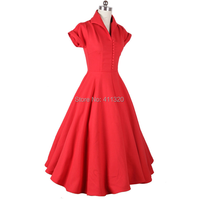 V207 2015 Womens Classic 1950s 60s Celebrity Vintage Retro Style Rockabilly Pin up Swing Summer Red Wedding Party Dresses (8).jpg