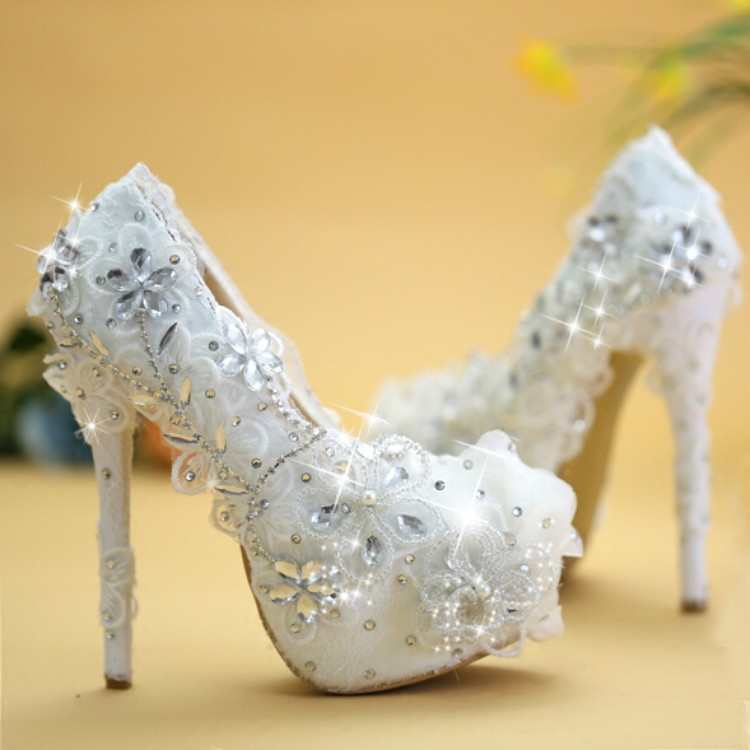 2016 Exclusive New Luxury Edition Wedding Shoes White Lace Bridal High Heeled Marriage
