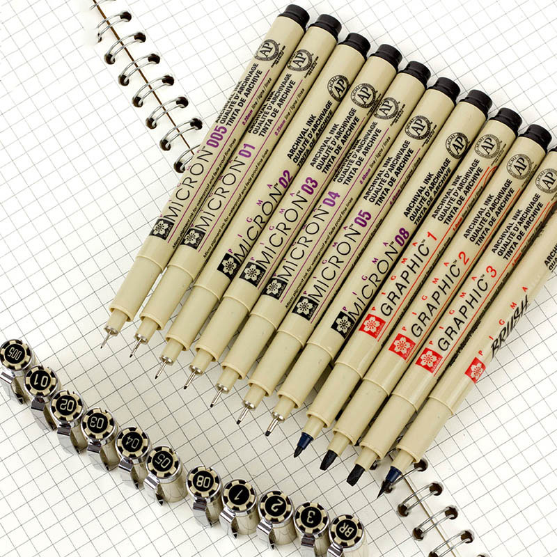 Markers Pigma Micron Pen Needle Soft Brush Drawing Painting Waterproof Pen 005 01 02 03 04 05 08 1.0 Brush Art Markers