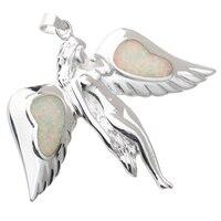 Glamorous Angel 35*45mm White Fire Opal Silver Handmade Animal Pendant P9081