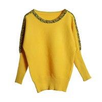 Большой размер, вязаный женский пуловер с рукавами «летучая мышь», желтый пуловер с круглым вырезом, Повседневный свитер для женщин, джемпе...