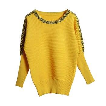 большой размер вязаный женский пуловер с рукавами летучая мышь