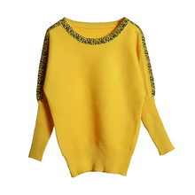 Large Size Knitted Women Bat Sleeve Pullover Yellow Pull Femme O -Neck Casual Sweater For Women Jumper Spring Female Pullovers yellow sexy pullover bat sleeves loose jumper