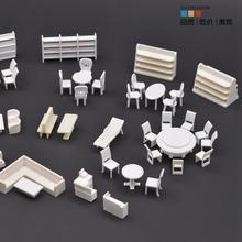 1 \ 50 paisajismo DIY modelo mobiliario Material sección apartamento muebles modelo conjunto de mesa y sillas escaparate
