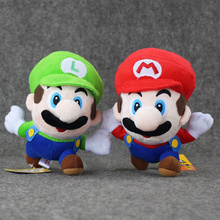16cm 2Styles Super Mario Bros Brothers Soft Red Green Plush Stuffed Doll Toys with Suction Cup