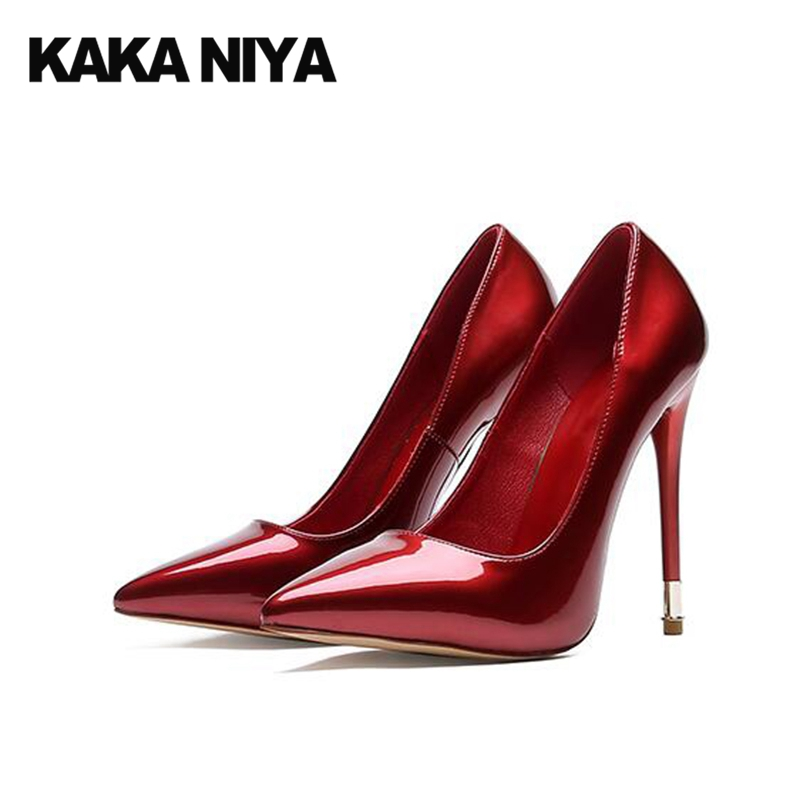 купить Famous Scarpin Pointed Toe Shoes Pumps Patent Leather 2017 Party Red Prom High Heels Super Size 4 34 Black Women Extreme Ultra недорого