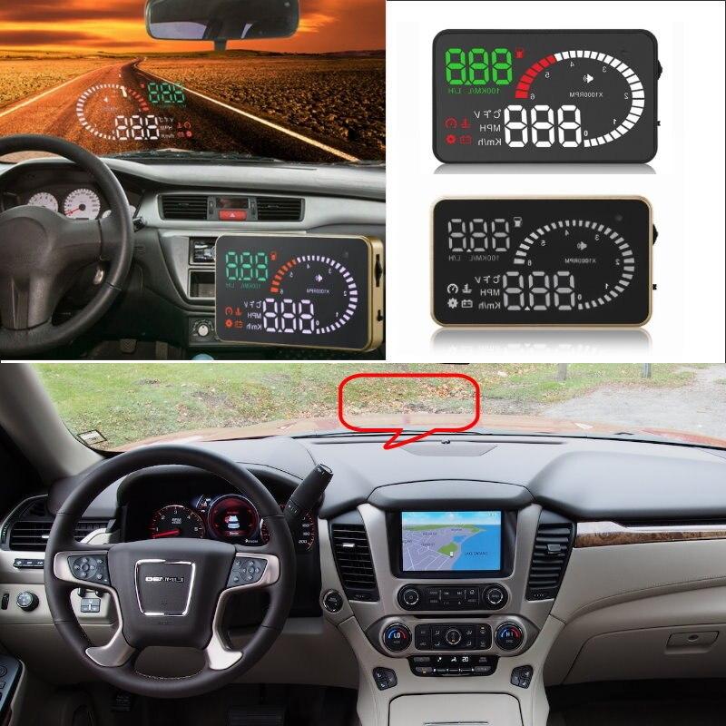 Otomobiller ve Motosikletler'ten Baş Üstü Ekran'de Liislee Araba HUD Head Up Display Gmc Yukon Sierra Envoy Savana Arazi 1500 Güvenli projeksiyon ekranı/OBD II konnektör title=