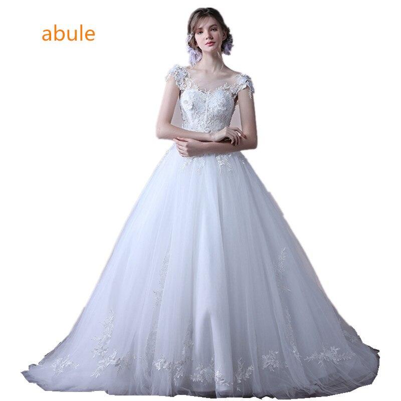 abule brudklänning 2018 vintage sexig spets upp brudklänning bollklänning lyx prinsessa applikationer bröllop klänning vestido de noiva