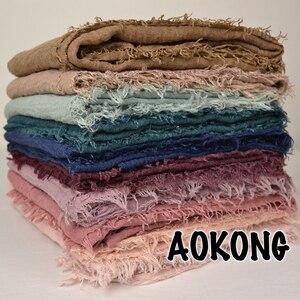 Image 5 - One Piece Maxi hijabs shawls OVERSIZE อิสลาม wraps นุ่มยาวมุสลิม frayed Crepe Premium cotton PLAIN Hijab ผ้าพันคอ