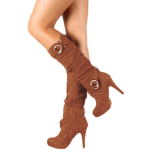 HENGSONG Autumn Winter Women Boots Stretch Slim Thigh High Boot 2018 New Fashion Mid-Calf Boot Thin High Heels Shoes Woman Botas