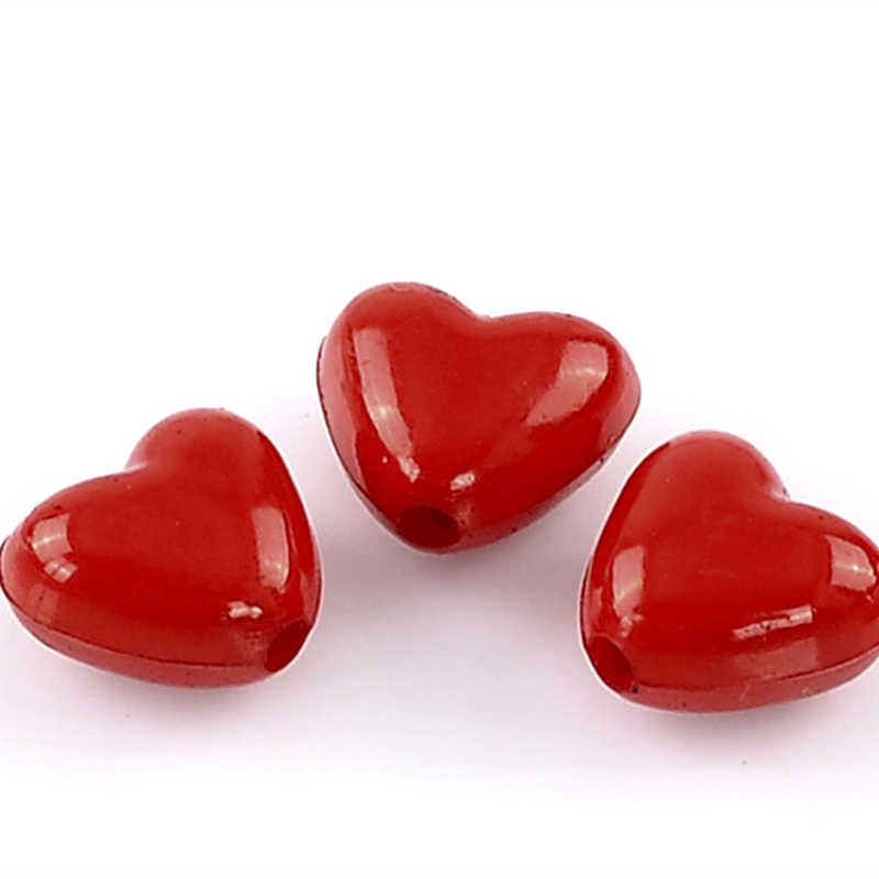 DoreenBeads Acrylic Charm Beads Love Heart Red 11x10mm,50PCs 2015 new