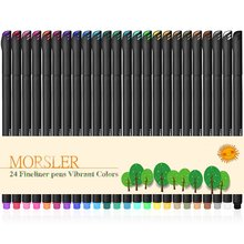 24Pcs Colored Ink Art Marker Pens Mini 0.4mm Fine Liner Water Color Kid School Anime Manga Sketch Scrapbooking Drawing Painting недорого