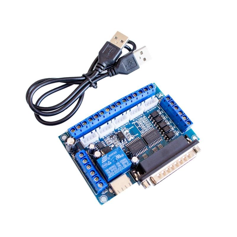 Placa de interface do motorista do motor deslizante de 5 eixos cnc com cabo usb optoacoplador isolamento para máquina de gravura mach3 _ wk