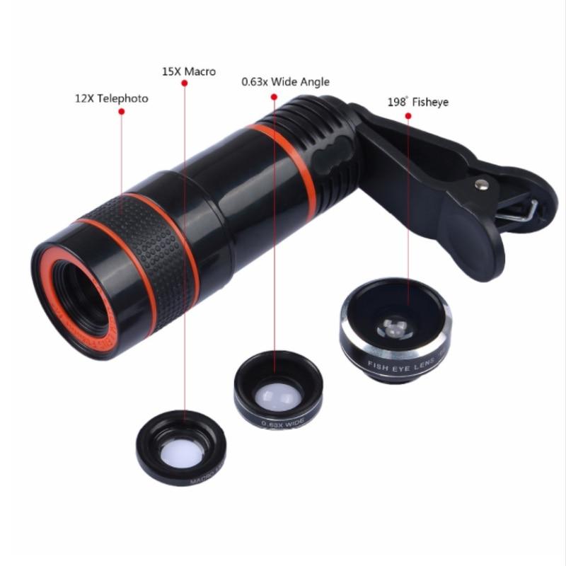 APEXEL 6IN1 telefon kamera lens 12X Telescope telefonoto Zoom + - Cib telefonu aksesuarları və hissələri - Fotoqrafiya 4