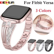 watch band For fitbit versa smart watch strap Stainless Steel Bracelet Wearable Belt with Rhinestone Wristbands Replacement Band frontier classic watch strap for fitbit versa band replacement metal with rhinestone wristbands accessories steel strip