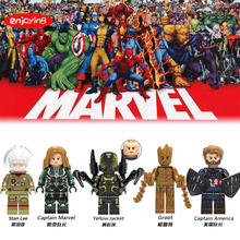 Legoing Father of Marvels Stan Lee Super Heroes Captain Marvel Groot Wasp Iron Man Building Blocks Toys DIY Figures for Children(China)