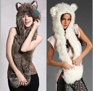New Women Men Faux Fur Animal Hat With Long Scarf Hat Wolf Fur Hat With Paws Party Beanies Cap Winter Cartoon Hat High Quality