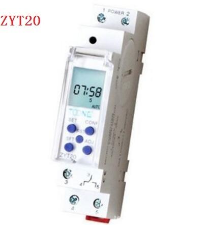 DIN Rail micro computer timer switch AC/DC 24-265V ZYT20 Slim Digital timer 10A 250VAC цена
