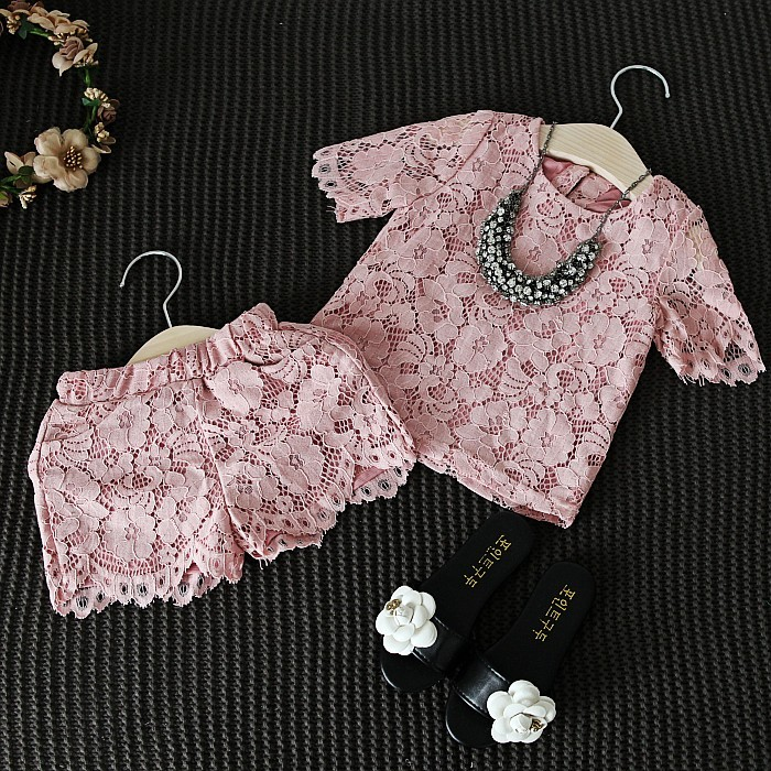 Girls Clothes Set New Fashion Floral Lace Pink T Shirt & Pants Shorts Casual Clothing Suit Baby Girl Outfits Children Clothes fashion baby girl t shirt set cotton heart print shirt hole denim cropped trousers casual polka dot children clothing set