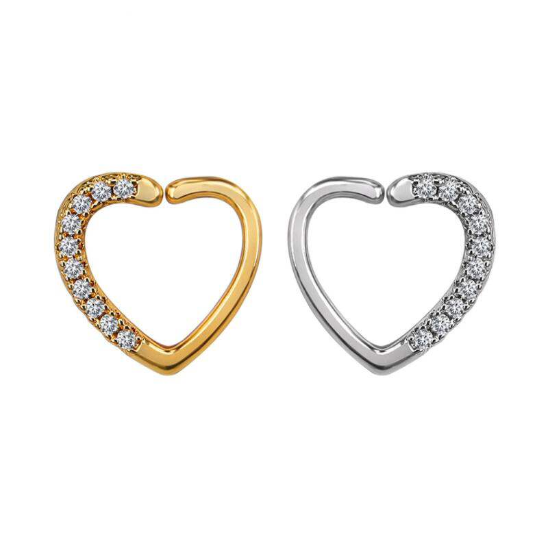 Ear Cartilage Heart Right Closure Daith Cartil Tragus Hinged <font><b>Segment</b></font> Ring Body Jewelry Earrings <font><b>16</b></font> Gauge Ring image