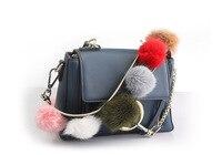 Luxury Real Fox Fur Women Bag Strap Color Pompom Leather Sling Handbag Belt